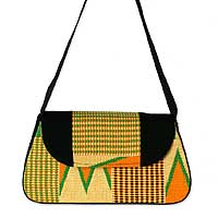 Cotton kente shoulder bag, 'Ashanti Prosperity' - Unique Kente Cloth Flap Shoulder Bag