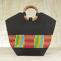 Cotton kente tote bag, 'Neighborly Love' - Cotton kente tote bag