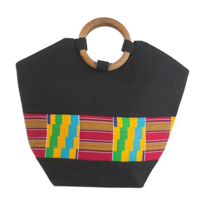 Cotton kente tote bag, 'Neighborly Love' - Cotton kente tote bag