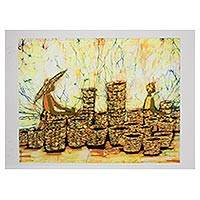 Batik art, 'A Good Day' - Batik art