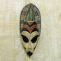 Nigerian wood mask, 'Hausa Farmer's Friend' - Handcrafted African Wood Mask