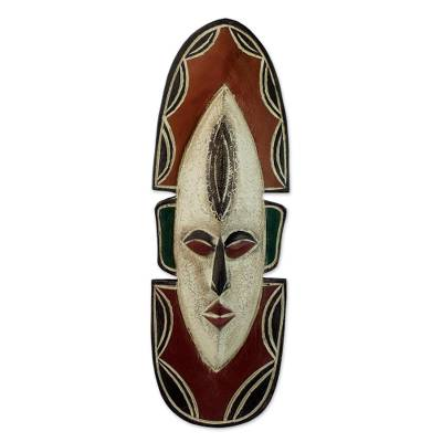 Ghanaian wood mask, 'Love Me' - Fair Trade Carved Wood Mask