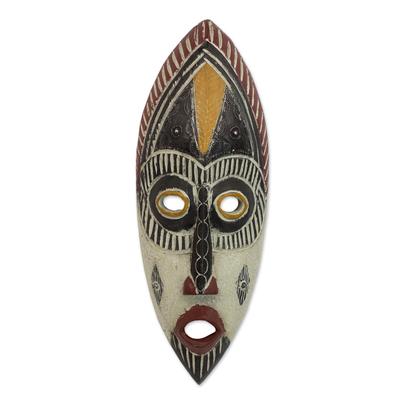 Nigerian wood mask, 'Kaduna Protector' - Hand Carved Nigerian Mask
