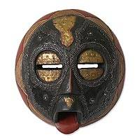 Ghanaian wood mask, 'Caring Mother' - Unique African Wood Mask