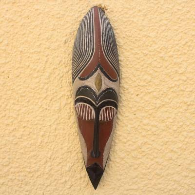 Ghanaian wood mask, 'Brave Fighter' - Hand Made African Wood Mask