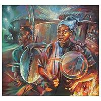 'The Colors of African Drums' (2010) - Expressionist Portrait Painting from Africa