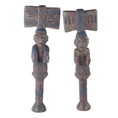 Hand Carved Wood Sculpture (Pair)