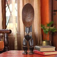 Wood sculpture, 'Female Dan Harvest Spoon' - Wood sculpture