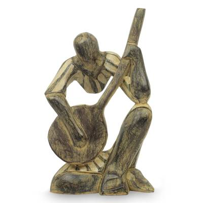 Hand Carved Wood Musician Sculpture