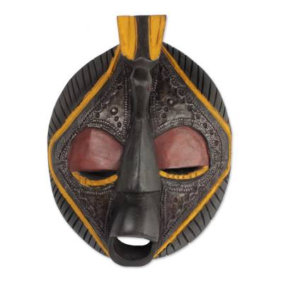 Africa wood mask, 'Patience' - Hand Made Wood Mask