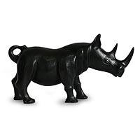 Wood sculpture, 'Black Rhino' - Handcrafted Sese Wood Rhino Sculpture