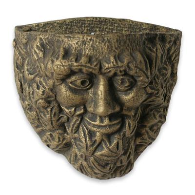 Handcrafted Ceramic Bearded Man Spirit Face Wall Art