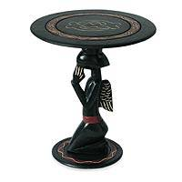 Wood accent table, 'African Angel' - Unique Wood Accent Table