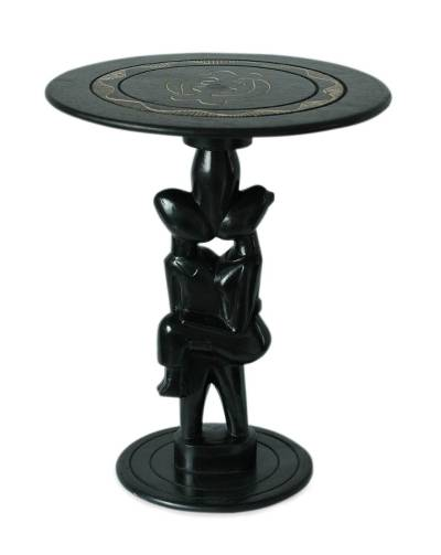 Wood accent table, 'African Sweethearts' - Wood accent table
