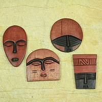 Wood ornaments, 'African Masks' (set of 6)