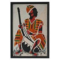 Kente cloth wall art, 'Kora Player II' - African Kente Cloth Wall Collage