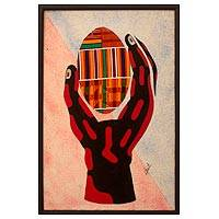 Kente cloth wall art, 'Hand and Egg II' - African Kente Cloth Wall Collage