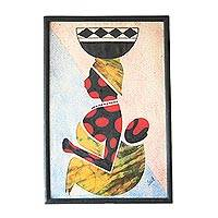 Cotton batik wall art, 'Milk Seller from the North II' - African Cotton Batik Wall Art