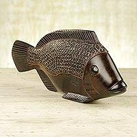 Wood sculpture, 'African Fish' - Original Hand Carved Wood Fish Sculpture