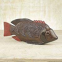 Wood sculpture, 'Ga Redfish' - Unique African Wood Sculpture