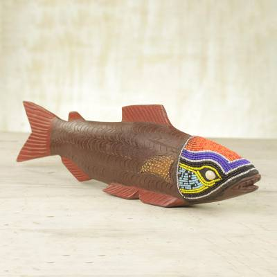 Beaded wood sculpture, 'Tribal Salmon' - Ghana Hand Carved Wood Sculpture