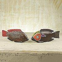 Beaded wood sculptures, 'African Tilapia Fish' (pair) - Beaded Wood Sculptures (Pair)