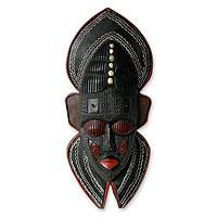 Ghanaian wood mask, 'Protector' - Hand Carved African Wall Mask