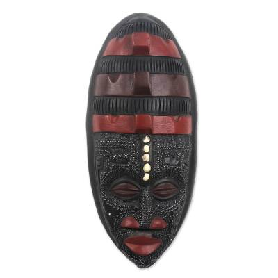 Ghanaian wood mask, 'Akan Blessing' - African wood mask