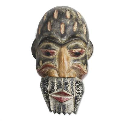 Ghanaian wood mask, 'Historian' - Handmade African Wood Mask
