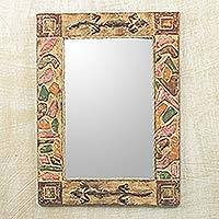 Mirror, 'African Lizards' - Handmade Rustic Wood Mirror