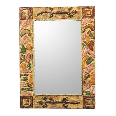 Mirror, 'African Lizards' - Handmade Rustic Wood Mirror