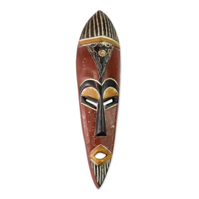 Ghanaian wood mask, 'Honesty' - Wood Mask from Africa
