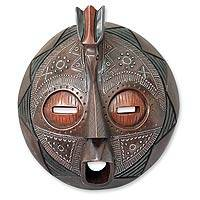 Ghanaian wood mask, 'Good Tidings' - African wood mask