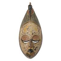 African wood mask, 'Think It Over' - Artisan Hand Carved Wood Mask