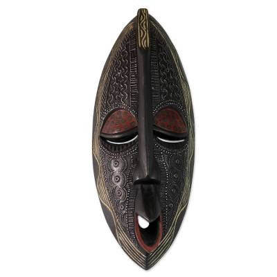 African wood mask, 'Family First' - Handcrafted Wood Mask from Africa