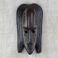 Ghanaian wood mask, 'The Conqueror' - Artisan Crafted Wood Mask
