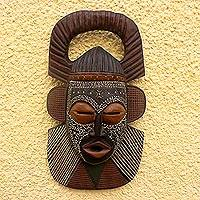 Ghanaian wood mask, 'Osudum Chief Priest' - Hand Crafted African Wood Mask