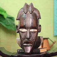 Ivoirian wood mask, 'Senufo Celebration' - Ivoirian wood mask