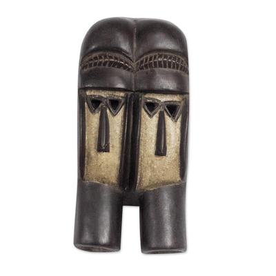 Ivoirian wood mask, 'Kran Twins' - Ivoirian wood mask