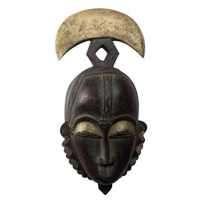 Ivoirian wood mask, 'Yoari Moon' - Handcrafted Ivory Coast Wood Mask