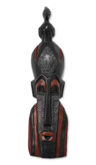 Ghanaian wood mask, 'The Chief's Messenger' - African wood mask