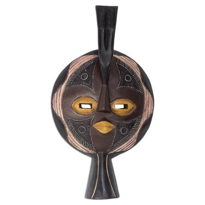 Ghanaian wood mask, 'Valiant Woman' - African wood mask