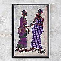 Cotton batik wall art, 'Conversations' - African Cotton Batik Wall Art