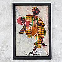 Fabric collage wall art, 'Akan Welcome' - Fabric Collage Framed Wall Art from Africa