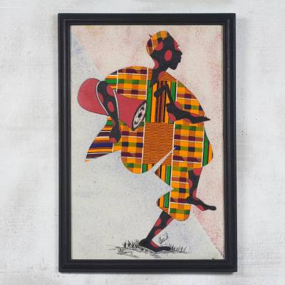 Fabric Collage Framed Wall Art From Africa Akan Welcome