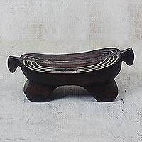 Wood figurine, 'African Pillow Throne' - African Wood Sculpture