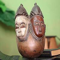 Baule wood mask, 'Marriage Ceremony' - Baule wood mask