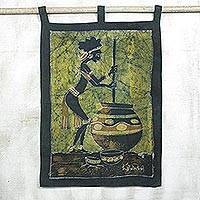 Batik wall hanging, 'Making Pito Beer' - Batik wall hanging