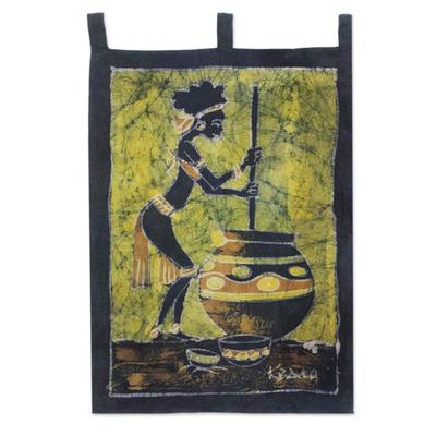 Batik wall hanging, 'Making Pito Beer' - Batik wall hanging