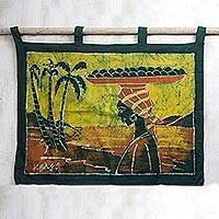 Batik wall hanging, 'Orange Seller'